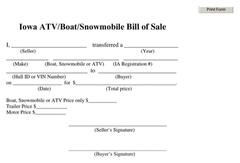 Iowa Bill of Sale for ATV | Boat | Snowmobile