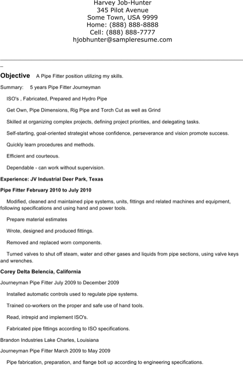 Download Pipefitter Resume Templates For Free