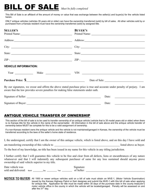Kansas Dmv Bill of Sale