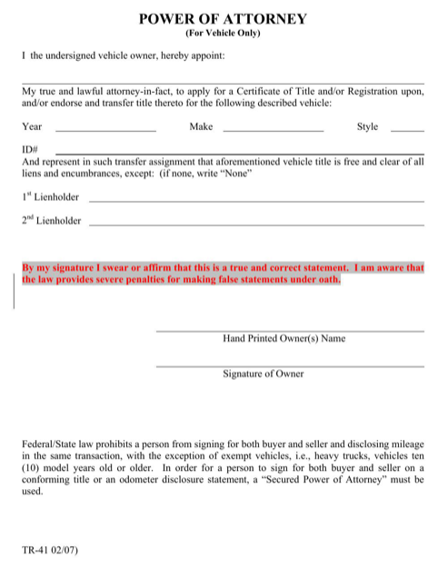 Kansas Power of Attorney (for Vehicle Only) Form
