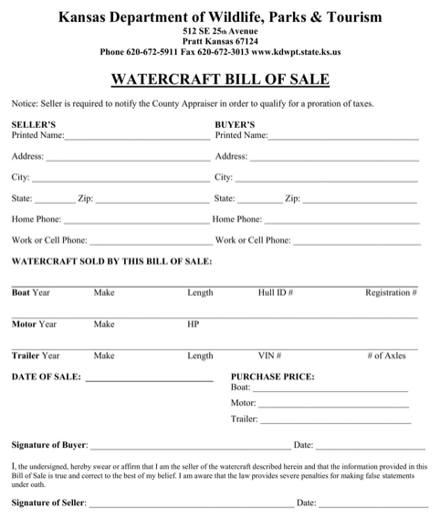 Kansas Watercraft Bill of Sale Form