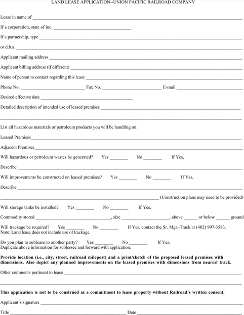 Land Lease Application Form