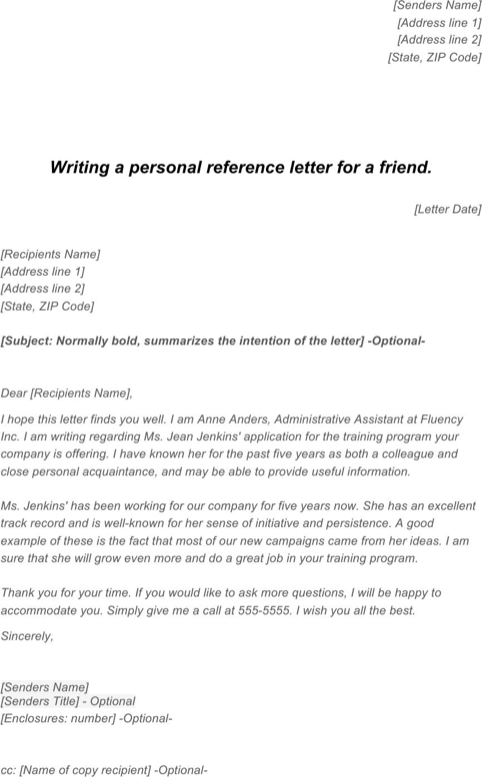 Letter of Recommendation for a Friend