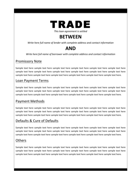 Loan Agreement For Trade