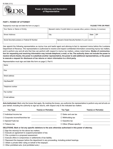 Louisiana Tax Power of Attorney Form