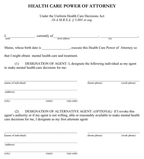 Maine Health Care Power of Attorney Form