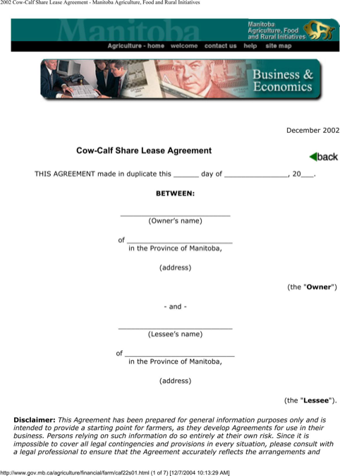 Manitoba Cow Calf Share Lease Agreement Form