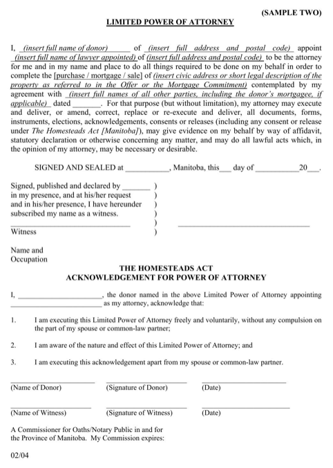 Manitoba Limited Power of Attorney Form