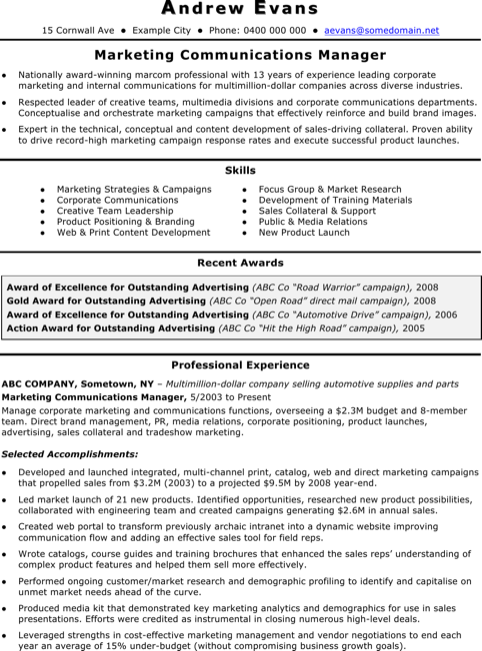 Marketing Coordinator Manager Resume