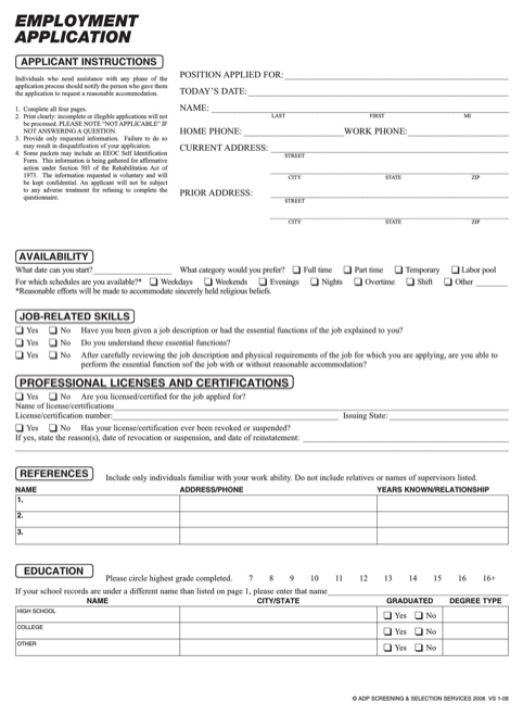download massachusetts job application form for free formtemplate