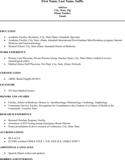 Md Physician Doctor Resume Template