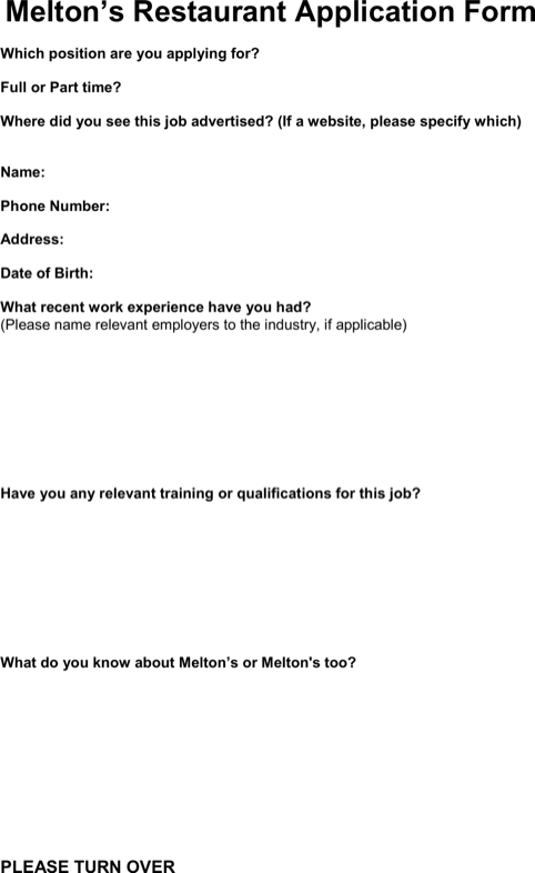 Meltons Restaurant Application Form Pdf Free Download