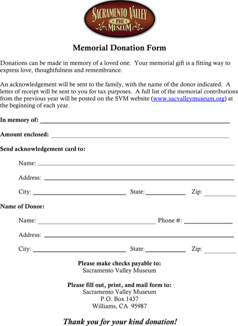 Memorial Donation Certificate Template
