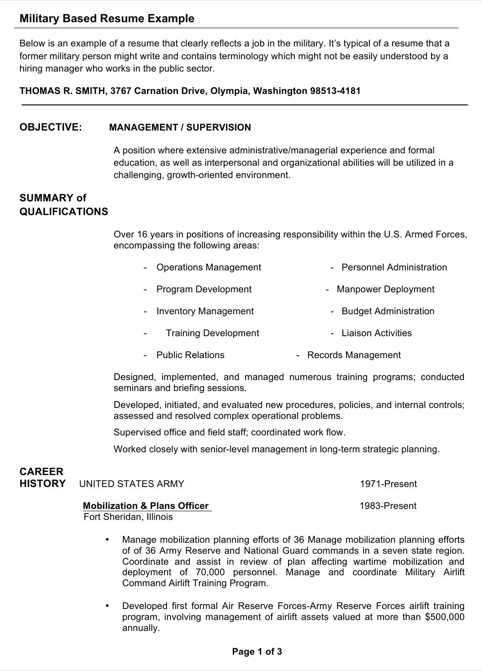 Military Based Resume Example