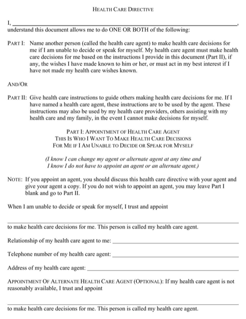 Minnesota Health Care Power of Attorney Form