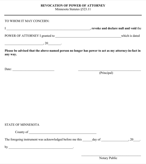 Minnesota Revocation of Power of Attorney Form