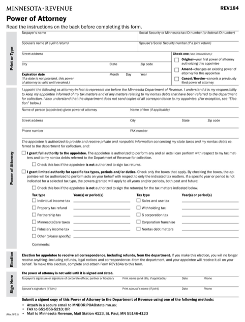 Minnesota Tax Power of Attorney Form