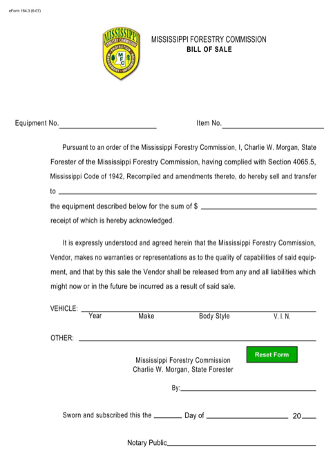Mississippi Equipment Bill of Sale Form