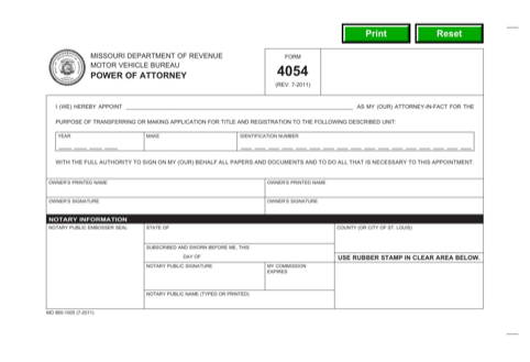 Missouri Motor Vehicle Power of Attorney Form