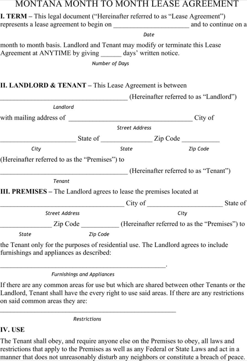 Montana Month to Month Rental Agreement Form