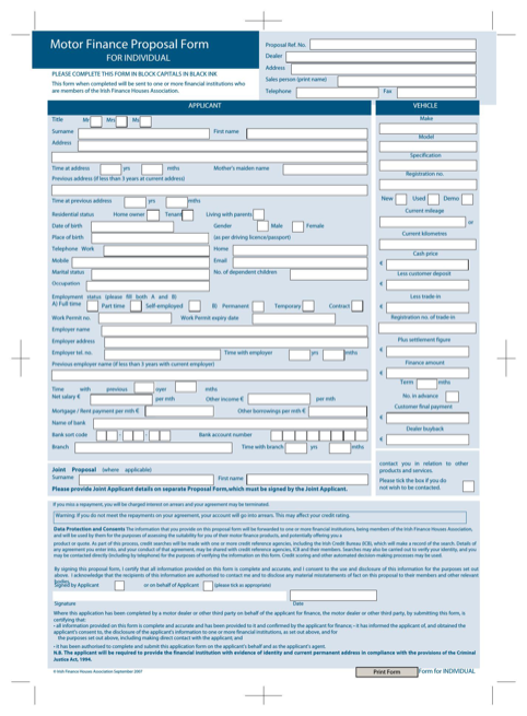 Motor Finance Proposal Form