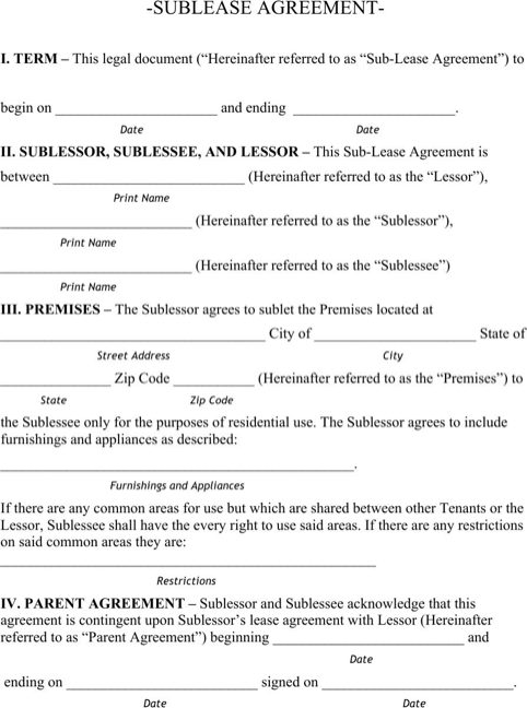 Nebraska Sublease Agreement Form