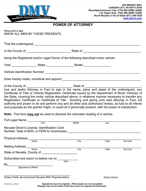 Nevada Motor Vehicle Power of Attorney Form