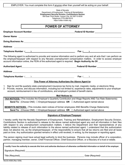 Nevada Tax Power of Attorney Form