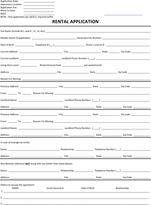 New Hampshire Rental Application for Tenant