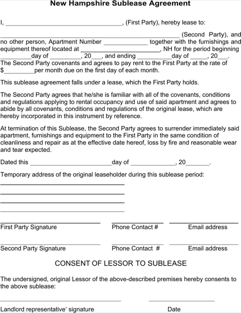New Hampshire Sublease Agreement Form