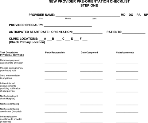 New Physician Orientation Checklist Word Doc Download
