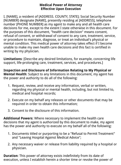 New York Health Care Power of Attorney Form