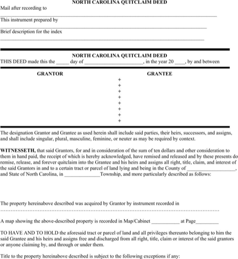 download north carolina quitclaim deed form for free