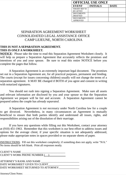 Download North Carolina Separation Agreement Template For