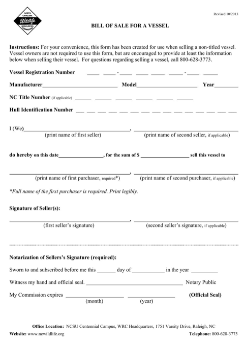 North Carolina Vessel Bill of Sale Form