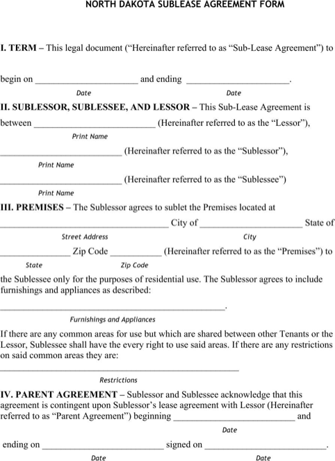 North Dakota Sublease Agreement Form