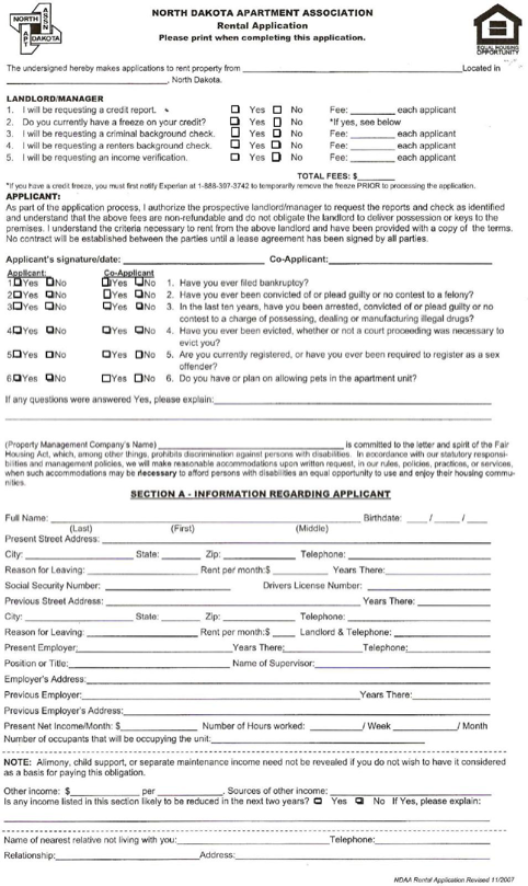 North Dakota Tenant Rental Application