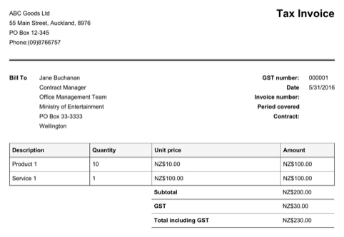NZ Invoice Template with GST