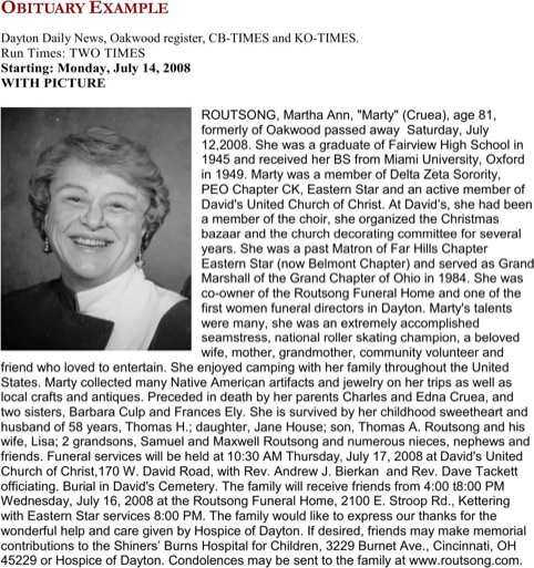 Obituary Example