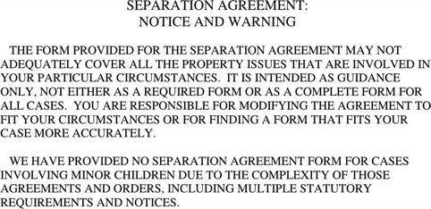 Ohio Separation Agreement Template