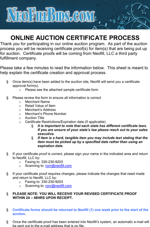 Online Auction Certificate Process