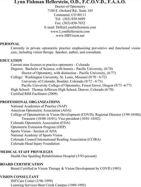 Optometrist Medical Assistant Resume