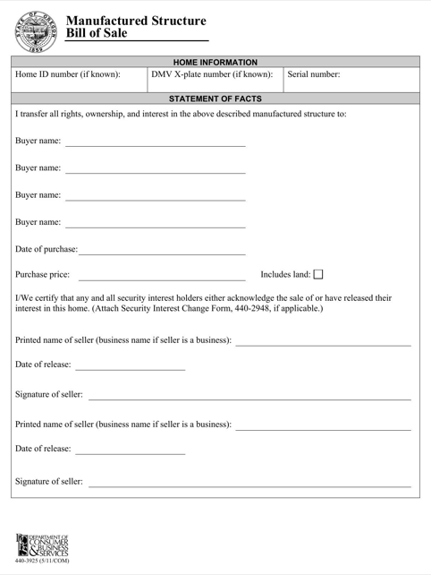 Oregon Manufactured Structure Bill of Sale Form