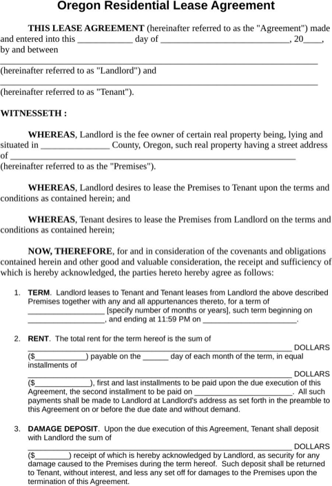 Download Oregon Rental Agreement For Free Formtemplate