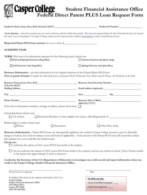 Parent Plus Loan Application Form 2