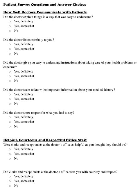 Patient Survey Questions and Answer Choices