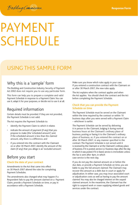 Payment Schedule Sample Form
