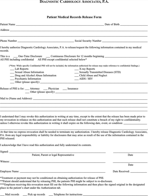 download pennsylvania medical records release form for free
