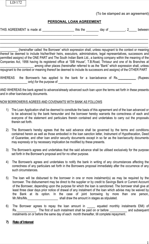 Download Personal Loan Agreement Form For Free Formtemplate