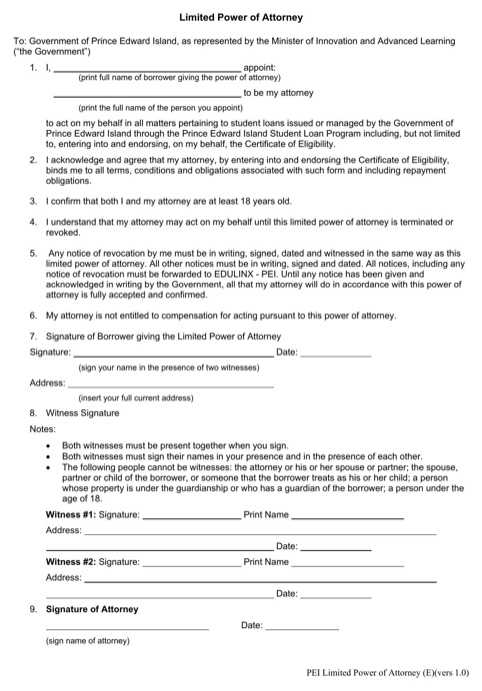 Prince Edward Island Limited Power of Attorney Form